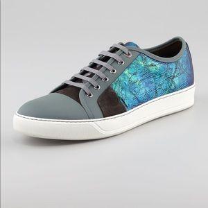 LANVIN Rubber Effect Iridescent Calfskin Sneaker